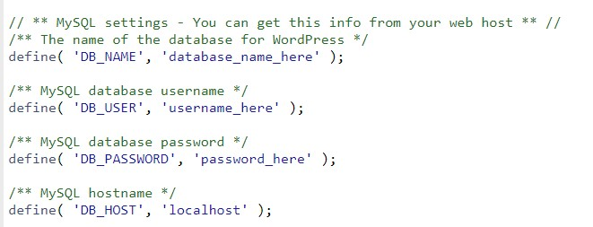 ویرایش اطلاعات پایگاه داده در فایل wp-config.php